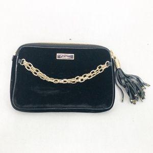 Cole Hann Black Velvet Gold Chain Bag mini handbag
